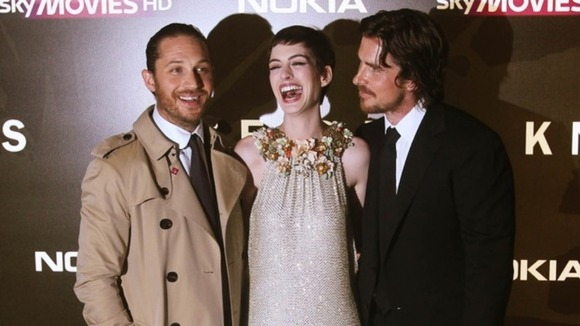 The Dark Knight Rises co-stars Tom Hardy, Anne Hathaway and Christian Bale at the UK premiere