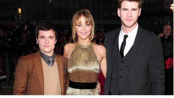 The Hunger Games stars Josh Hutcherson, Jennifer Lawrence and Liam Hemsworth (L-R)  at the 02 in London