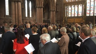 The service is taking place at the cathedral today.