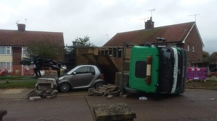 The lorry topped over in Sheldrake Drive.