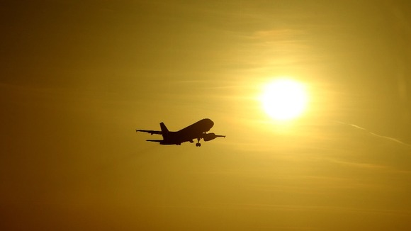 A plane takes off from London's Heathrow Airport.