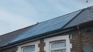Solar panels on the roof of Sian Cutter-Jones' retrofitted home