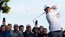 Northern Ireland's Rory McIlroy tees off on the 18th during day two of the British Masters at Close House.