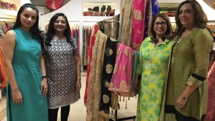 Saree shop owner Beena Patel with her team at the Indi Kal store.