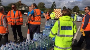 Bottled water is being handed out in Tenbury Wells on Saturday