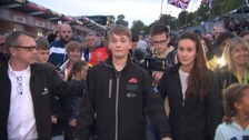 The 18-year-old racing driver lost the lower part of both his legs in a crash at Donington Park.