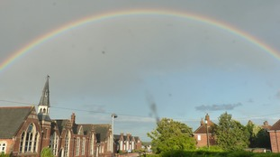 A rainbow over North Walsham in Norfolk on 13 September 2017.