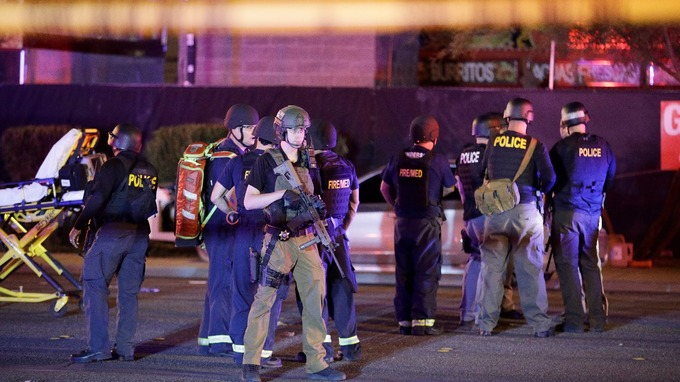Concert-goers said they saw muzzle flashes from the upper floors of the Mandalay Bay hotel-casino.
