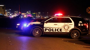 One of many Police roadblocks around the Route 91 Harvest country music festival