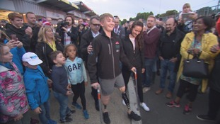The smile says it all - supporters cheer on hero Billy Monger as he vows to get back racing