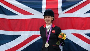 Deborah Criddle celebrates winning silver in the Dressage Individual Championship Grade 4 at Greenwich Park, London.