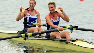 Helen Glover and Heather Stanning celebrate becoming winning Britain's first gold in women's rowing.