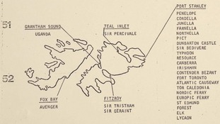 A map detailing information about British military positions around the Falkland Islands