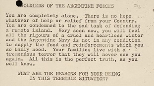 A 'Condemned Islands' leaflet produced to drop on Argentine forces on the Falkland Islands