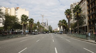 An empty street in Barcelona