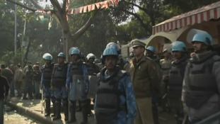 Police officers sealed off the India Gate area in anticipation of protests