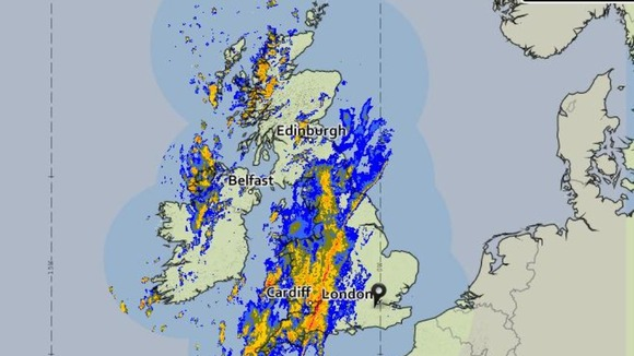 The Met Office rainfall radar image taken at 9am this morning
