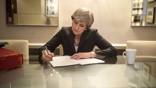 Theresa May preparing her speech for the Conservative Party conference in Manchester