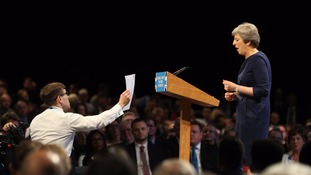 Theresa May's keynote speech was interrupted with a P45 unemployment notice