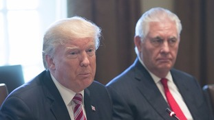 US President Donald Trump (left) and Secretary of State Rex Tillerson.