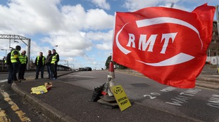 An RMT picket line.