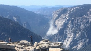 The major rock fall in Yosemite National Park caused a huge cloud of dust