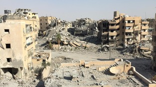 The devastation in Raqqa is clear to see.