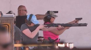 ITV News visited this shooting range near Las Vegas.