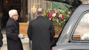 Liz Dawn's coffin arrives at Salford Cathedral.