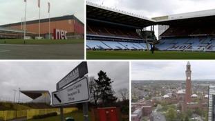 From top (left): The NEC, Villa Park, Alexander Stadium and University of Birmingham