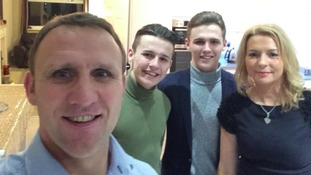 Stephen with sons Bradley and Liam and wife Joanne