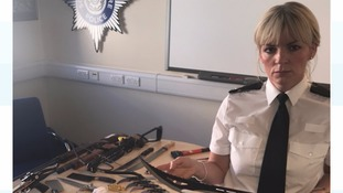 Det Supt Una Jennings with weapons surrendered during a recent amnesty