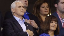 Mr Pence tweeted he would 'always stand for our flag and national anthem'