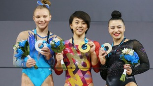 Left to right: Jade Carey (USA), Mai Murakami (Japan) and Claudia Fragapane (Great Britain)