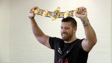 Sam Sexton poses with his British heavyweight belt.