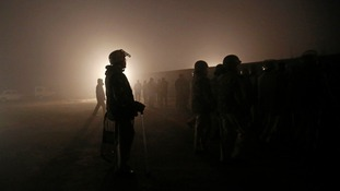 The cremation took place under a dense cloud of fog