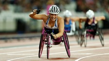 Sammi celebrating at the Women's 200m T53 Final in July
