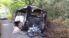 The burnt out vehicles were found in the Penpedairheol area