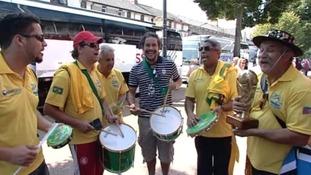 Brazilian fans in Cardiff