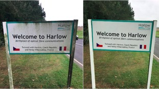 Harlow councillor personally cleans town sign after residents complain