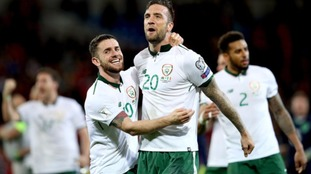 Robbie Brady and Shane Duffy celebrate after the game