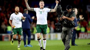 James McClean celebrates after the game