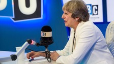 Theresa May takes part in a live phone-in on radio station LBC, hosted by Iain Dale.