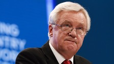British Brexit Secretary David Davis delivers his keynote speech at the Conservative Party's annual conference in Manchester.