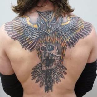 A new tattoo on the back of fugitive Shane O'Brien.
