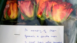 Flowers left at the scene near St Saviour in High Green, Sheffield.