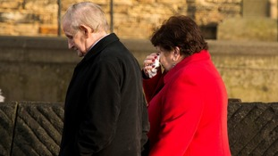Members of the congregation leave St Saviour in High Green, Sheffield following a prayer service for Alan Greaves.