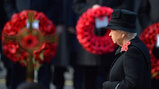 The Queen at the last Remembrance Day service - but she will not a lay a wreath next time.