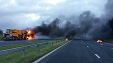 The road was closed in both directions between J36 and 39