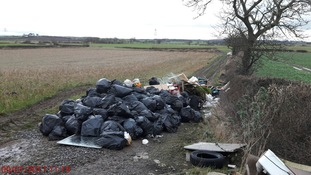A large amount waste was dumped in a farmer's field near Sadberge village.